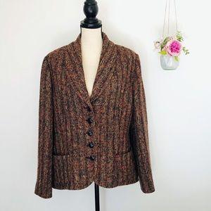 Pendleton Tweed Blazer Rust Brown Size 18